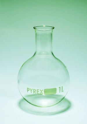 Pyrex® Flasks, boiling, round bottom, narrow neck