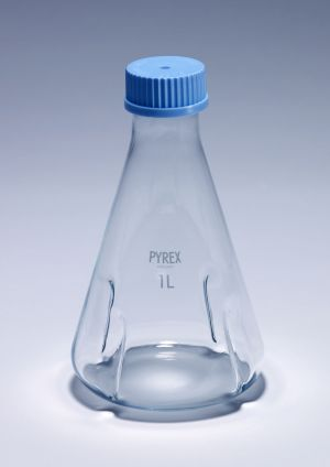 Pyrex® Flasks, culture, baffled, membrane screwcap