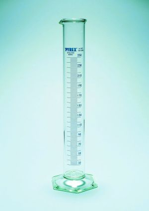 Pyrex® Measuring Cylinders with Spout, Class B, tall form, heavy duty rim