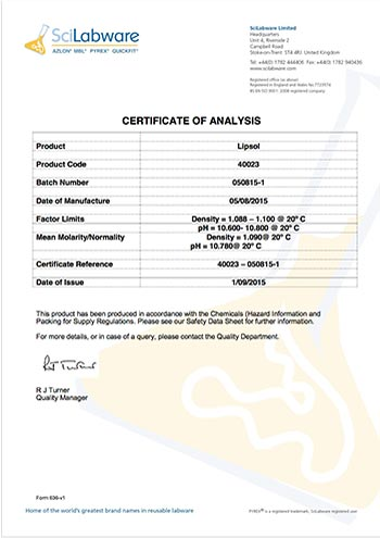 screen shot of Certificate of Analysis Lot 050815-1
